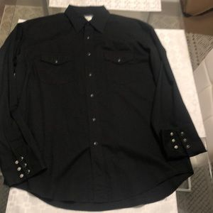 Men's Wrangler Snap Button Western Shirt Black L